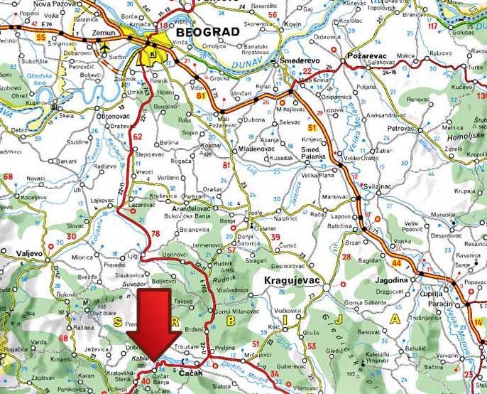 mapa pozega srbija Mapa | Ovčar Banja mapa pozega srbija