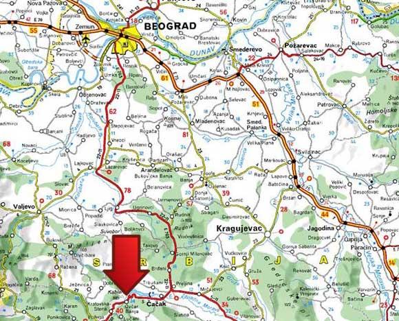 ovcar-banja-mapa